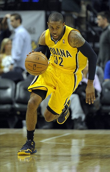 Nov 2, 2013; Indianapolis, IN, USA; Indiana Pacers point guard C.J. Watson (32) brings the ball down court during the second half of the game. Indiana won 89-74 at Bankers Life Fieldhouse. Mandatory Credit: Marc Lebryk-USA TODAY Sports