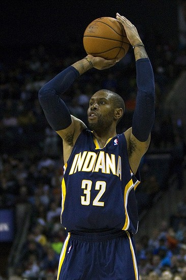 Nov 27, 2013; Charlotte, NC, USA; Indiana Pacers point guard C.J. Watson (32) shoots the ball during the fourth quarter against the Charlotte Bobcats at Time Warner Cable Arena. Pacers won 99-74. Mandatory Credit: Joshua S. Kelly-USA TODAY Sports