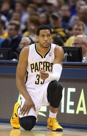 Dec 28, 2013; Indianapolis, IN, USA; Indiana Pacers forward Danny Granger (33) waits to check in at the scorer