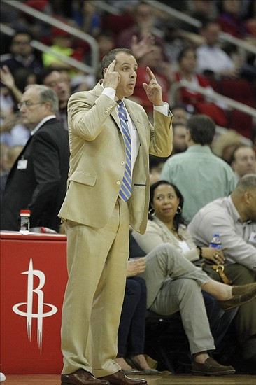 Mar 7, 2014; Houston, TX, USA; Indiana Pacers head coach Frank Vogel reacts to a play during the second quarter against the Houston Rockets at Toyota Center. Mandatory Credit: Andrew Richardson-USA TODAY Sports