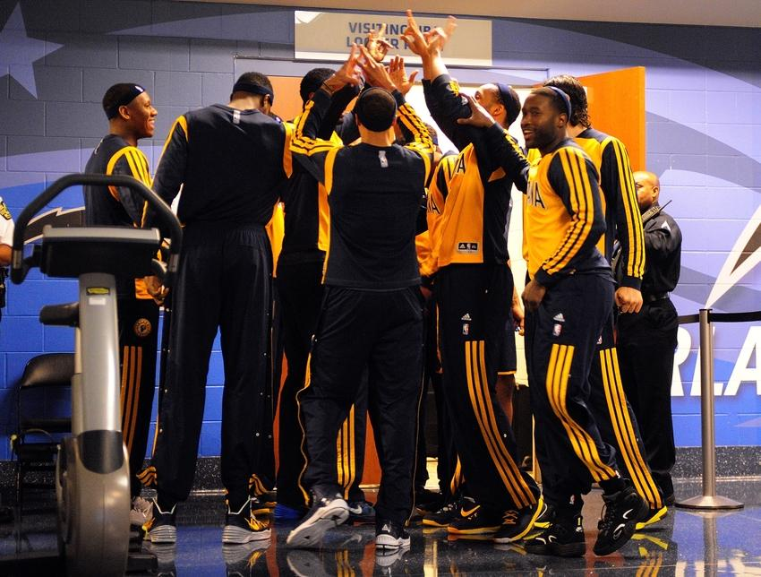 Apr 16, 2014; Orlando, FL, USA; The Indiana Pacers walk out of the locker room before the start of the game as the Pacers beat the Orlando Magic 101-86 at Amway Center. Mandatory Credit: David Manning-USA TODAY Sports
