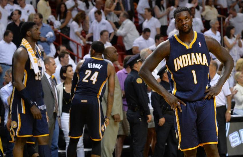 May 26, 2014; Miami, FL, USA; Indiana Pacers guard Lance Stephenson (1) reacts against the Miami Heat in game four of the Eastern Conference Finals of the 2014 NBA Playoffs at American Airlines Arena. Mandatory Credit: Steve Mitchell-USA TODAY Sports