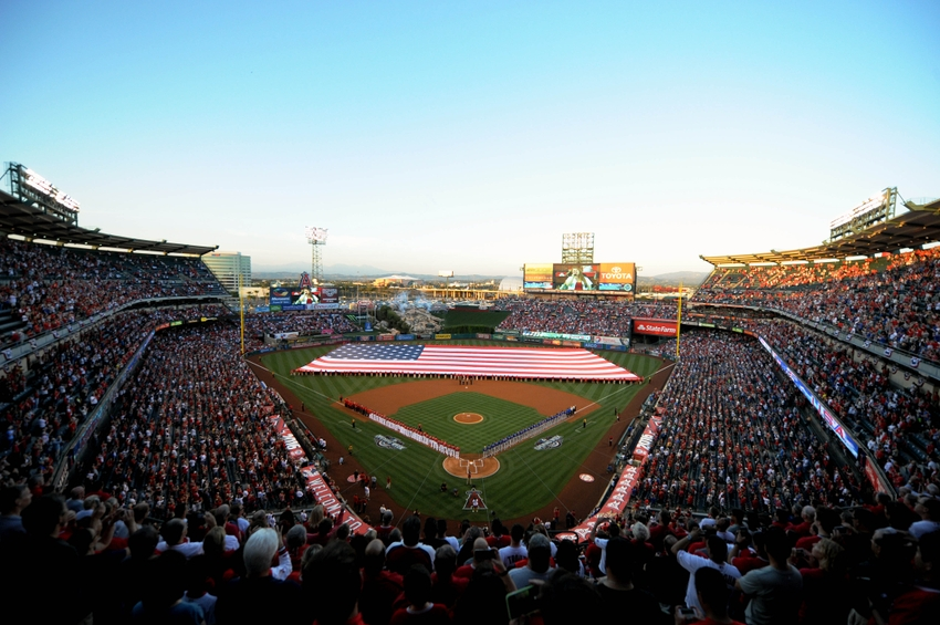 April 4, 2016; Anaheim, CA, USA; General view of pregame festivities before the Los Angeles Angels play against Chicago Cubs at Angel Stadium of Anaheim. Mandatory Credit: Gary A. Vasquez-USA TODAY Sports