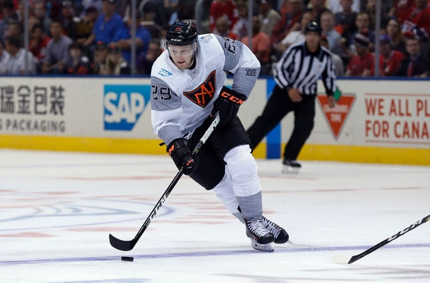 Toronto, Ontario, Canada; Team North America center Nathan MacKinnon ...