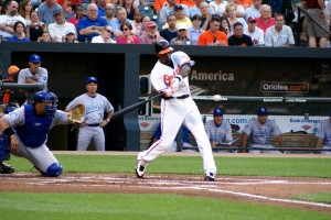Adam Jones Goes Yard (Photo by Rick Vattimo)
