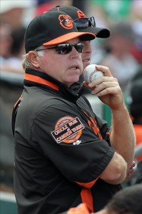 March 10, 2012; Clearwater, FL, USA; Baltimore Orioles manager Buck Showalter (26) in the dugout during the second inning against the Philadelphia Phillies at Bright House Networks Field. Mandatory Credit: Kim Klement-US PRESSWIRE