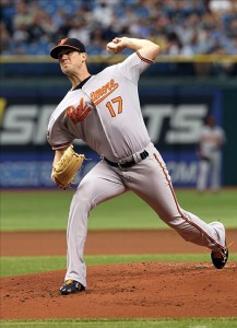 June 2, 2012; St. Petersburg, FL, USA; Baltimore Orioles starting pitcher Brian Matusz (17) throws a pitch in the first inOrioles starting pitcher Brian Matusz throws a pitch in the first inning against the Tampa Bay Rays at Tropicana Field. Credit: Kim Klement-US PRESSWIRE