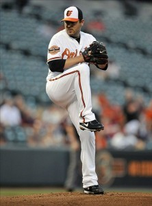 August 29, 2012; Baltimore, MD, USA; Baltimore Orioles starting pitcher Joe Saunders (48) makes his Orioles debut pitching in the first inning against the Chicago White Sox at Baltimore Orioles game at Oriole Park at Camden Yards. Mandatory Credit: