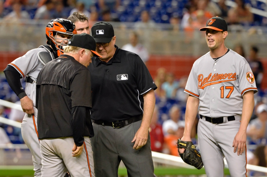 Brian-matusz-buck-showalter-paul-emmel-mlb-baltimore-orioles-miami-marlins