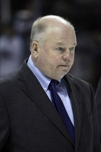 Dec 26, 2011; San Jose CA, USA; Anaheim Ducks head coach Bruce Boudreau leaves the rink after the first period against the San Jose Sharks at HP Pavilion. The Anaheim Ducks defeated the San Jose Sharks 3-2. Credit: Kelley L Cox-US PRESSWIRE