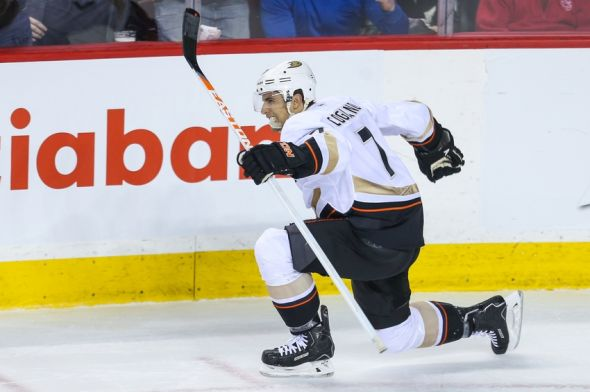 Mar 26, 2014; Calgary, Alberta, CAN; Anaheim Ducks center Andrew Cogliano (7) celebrates his goal against the Calgary Flames during the third period at Scotiabank Saddledome. Anaheim Ducks won 3-2. Mandatory Credit: Sergei Belski-USA TODAY Sports