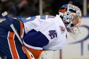 Nov. 19, 2011; Uniondale, NY, USA; New York Islanders goalie Anders Nilsson (45) guards the goal during the second period against the Boston Bruins at Nassau Veterans Memorial Coliseum. Mandatory Credit: Debby Wong-USA TODAY Sports
