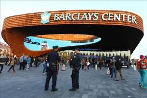 Apr. 15, 2013; Brooklyn, NY, USA; Two officers of the NYPD stand outside the arena before the game between the Brooklyn Nets and the Washington Wizards at Barclays Center on the day of the bombings at the Boston Marathon. Mandatory Credit: Debby Wong-USA TODAY Sports