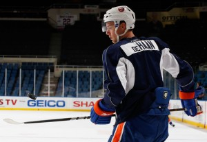 Calvin de Haan #3 of the New York Islanders looks on during a training camp session on September 21, 2010 at Nassau Coliseum in Uniondale. (September 20, 2010 - Source: Mike Stobe/Getty Images North America)