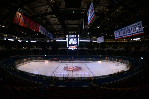 Dec 14, 2013; Uniondale, NY, USA; A general view of the ice before the game between the New York Islanders and the Montreal Canadiens at Nassau Veterans Memorial Coliseum. Mandatory Credit: Joe Camporeale-USA TODAY Sports