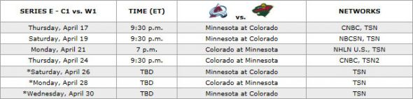 Colorado Avalanche vs. Minnesota Wild First-Round Schedule
