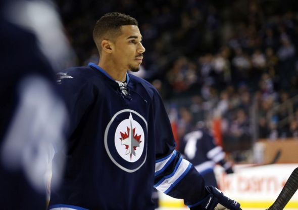 Apr 3, 2014; Winnipeg, Manitoba, CAN; Winnipeg Jets forward Evander Kane (9) skates on the ice prior to the game against the Pittsburgh Penguins at the MTS Centre. Mandatory Credit: Bruce Fedyck-USA TODAY Sports