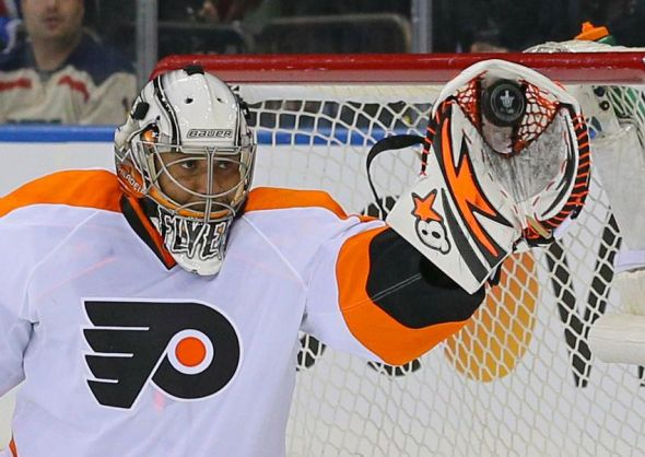 Apr 17, 2014; New York, NY, USA; Philadelphia Flyers goalie Ray Emery (29) makes a save against the New York Rangers during the second period in game one of the first round of the 2014 Stanley Cup Playoffs at Madison Square Garden. Mandatory Credit: Adam Hunger-USA TODAY Sports