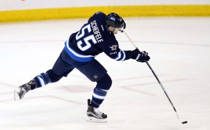 Apr 1, 2016; Winnipeg, Manitoba, CAN; Winnipeg Jets center Mark Scheifele (55) warms up before a game against the Chicago Blackhawks at MTS Centre. Mandatory Credit: Bruce Fedyck-USA TODAY Sports