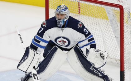 Oct 6, 2016; Edmonton, Alberta, CAN; Winnipeg Jets goaltender Ondrej Pavelec (31) looks on during warmups against the Edmonton Oilers in a preseason hockey game at Rogers Place. Mandatory Credit: Perry Nelson-USA TODAY Sports