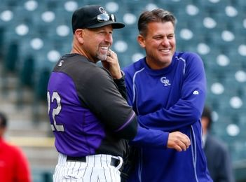 Walt Weiss and Keith Dugger of the Colorado Rockies