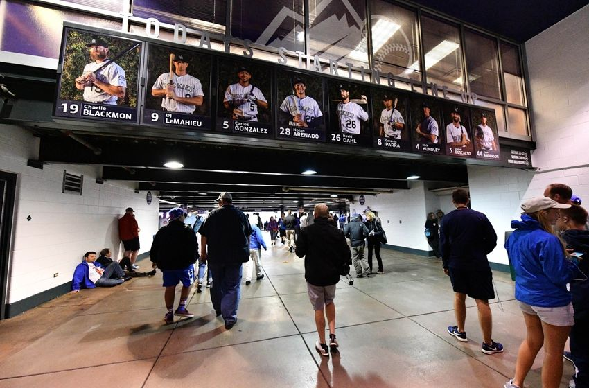 Colorado Rockies starting lineup displayed at Coors Field