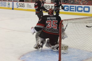 Justin Peters stopped 42 shots for the Hurricanes. Photo Credit: Jennifer Caslin