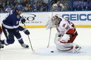 Ward And The Canes Will Try To Stop Lightning Tonight In Raleigh. Mandatory Credit: Kim Klement-US PRESSWIRE