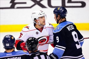 "Ruutu doesn't understand ""believe red"" either when the Panthers are wearing blue. Mandatory Credit: Steve Mitchell-US PRESSWIRE"