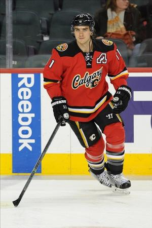 Jan 16, 2014; Calgary, Alberta, CAN; Calgary Flames center Mikael Backlund (11) during warm up against the Winnipeg Jets at Scotiabank Saddledome. Mandatory Credit: Candice Ward-USA TODAY Sports