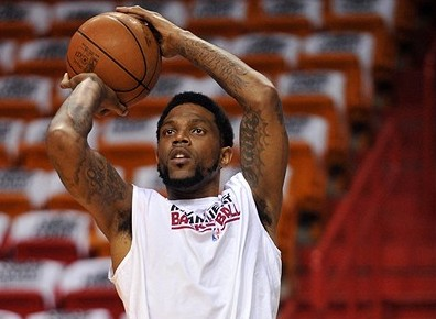 June 5, 2012; Miami, FL, USA;Miami Heat power forward Udonis Haslem (40) before game five of the Eastern Conference finals against the Boston Celtics of the 2012 NBA playoffs at American Airlines Arena. Mandatory Credit: Steve Mitchell-USA TODAY Sports