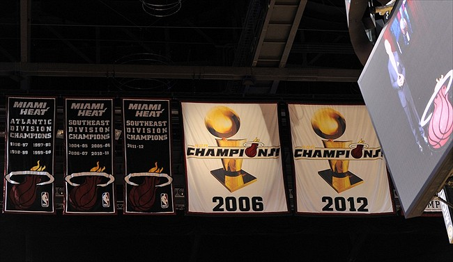 Nov. 3, 2012; Miami, FL, USA; Miami Heat championship banners before a game between the Denver Nuggets and the Miami Heat at American Airlines Arena. The Heat won 119-116. Mandatory Credit: Steve Mitchell-USA TODAY Sports