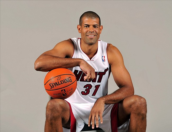 Sep 30, 2013; Miami, FL, USA; Miami Heat small forward Shane Battier (31) during media day at American Airlines Arena. Mandatory Credit: Steve Mitchell-USA TODAY Sports
