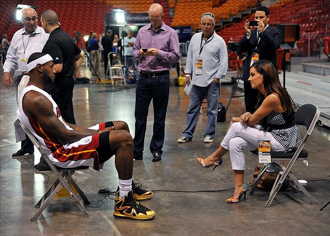 Sep 30, 2013; Miami, FL, USA; Miami Heat small forward LeBron James (6) has a sit down interview during media day at American Airlines Arena. Mandatory Credit: Steve Mitchell-USA TODAY Sports