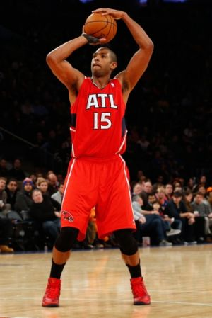Dec 14, 2013; New York, NY, USA; Atlanta Hawks center Al Horford (15) shoots during the first quarter against the New York Knicks at Madison Square Garden. Mandatory Credit: Anthony Gruppuso-USA TODAY Sports