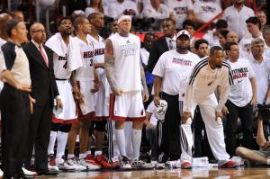 Jun 6, 2013; Miami, FL, USA; Miami Heat power forward Chris Andersen (center) and the bench react during the second quarter of game one of the 2013 NBA Finals against the San Antonio Spurs at the American Airlines Arena. Mandatory Credit: Steve Mitchell-USA TODAY Sports