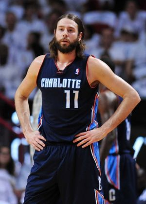 Apr 20, 2014; Miami, FL, USA; Charlotte Bobcats forward Josh McRoberts (11) takes a breather against the Miami Heat during the first half in game one during the first round of the 2014 NBA Playoffs at American Airlines Arena. Mandatory Credit: Steve Mitchell-USA TODAY Sports