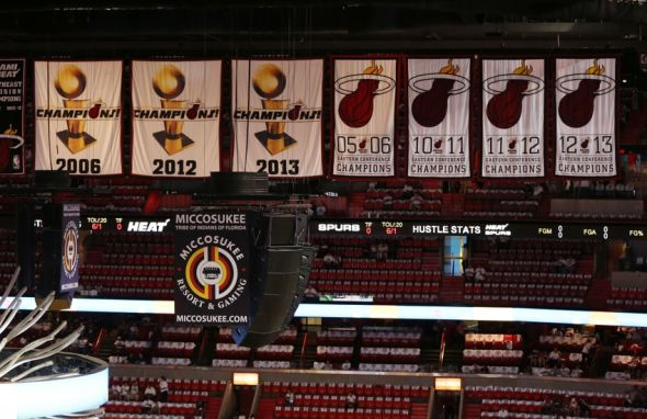 Jun 10, 2014; Miami, FL, USA; General view of championship banners at the arena prior to game three between the Miami Heat and the San Antonio Spurs in the 2014 NBA Finals at American Airlines Arena. Mandatory Credit: Robert Mayer-USA TODAY Sports