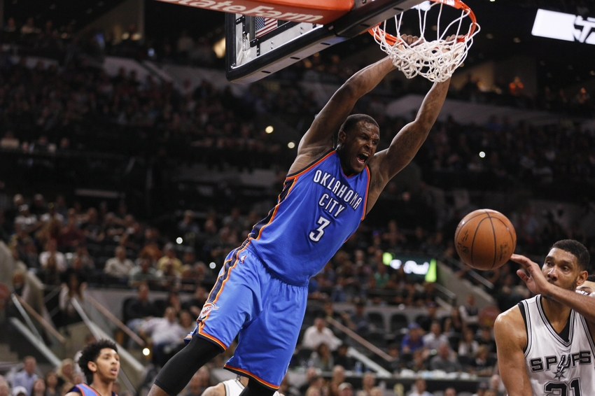 Apr 12, 2016; San Antonio, TX, USA; Oklahoma City Thunder shooting guard Dion Waiters (3) dunks the ball against the San Antonio Spurs during the second half at AT&T Center. Mandatory Credit: Soobum Im-USA TODAY Sports