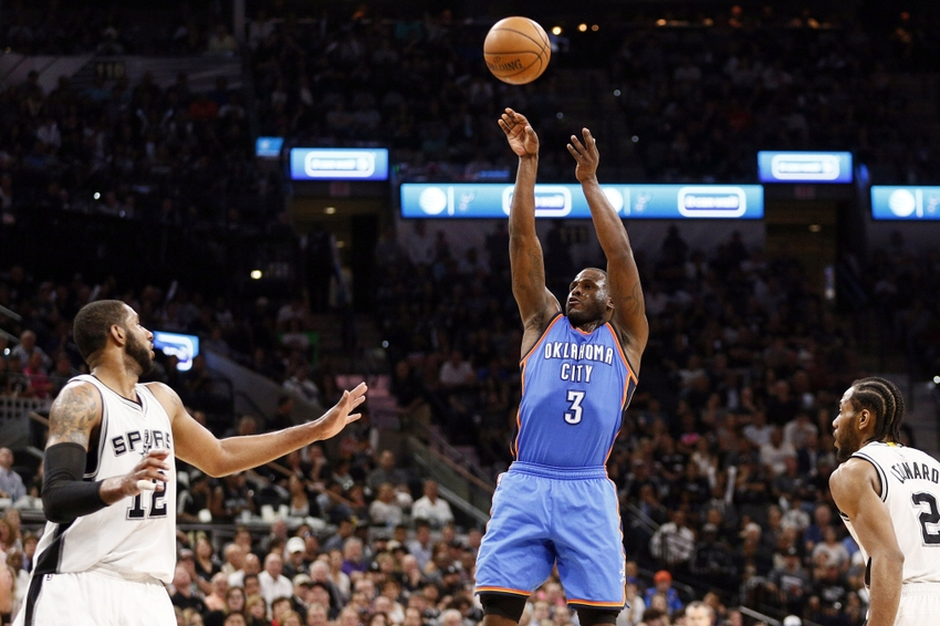 May 10, 2016; San Antonio, TX, USA; Oklahoma City Thunder shooting guard Dion Waiters (3) shoots the ball over San Antonio Spurs power forward LaMarcus Aldridge (12) in game five of the second round of the NBA Playoffs at AT&T Center. Mandatory Credit: Soobum Im-USA TODAY Sports
