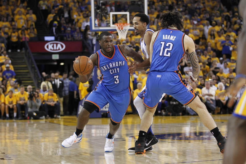 May 26, 2016; Oakland, CA, USA; Oklahoma City Thunder guard Dion Waiters (3) dribbles the ball against the Golden State Warriors in the fourth quarter in game five of the Western conference finals of the NBA Playoffs at Oracle Arena. The Warriors defeated the Thunder 120-111. Mandatory Credit: Cary Edmondson-USA TODAY Sports