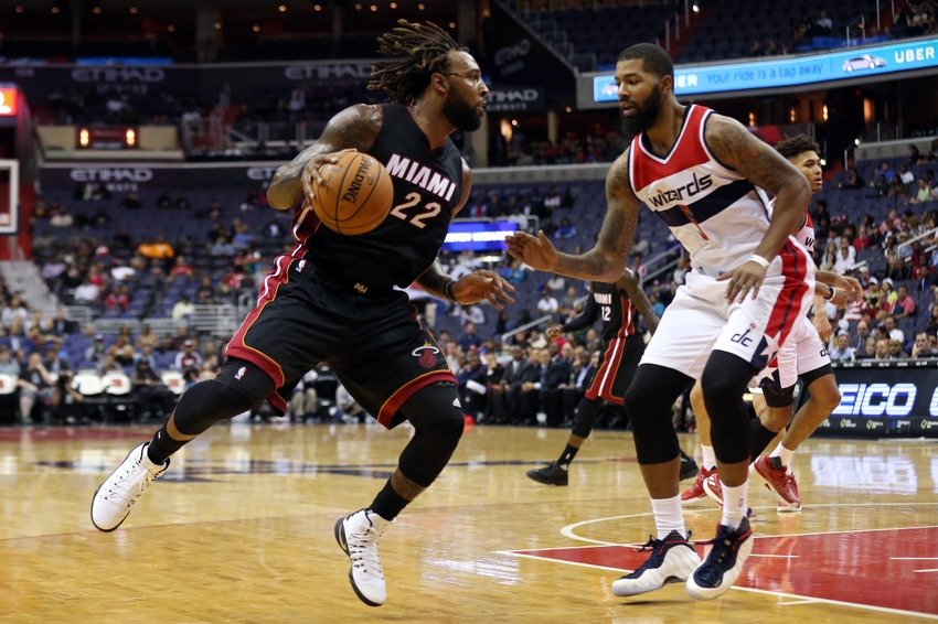 Oct 4, 2016; Washington, DC, USA; Miami Heat forward Derrick Williams (22) dribbles the ball as Washington Wizards forward Markieff Morris (5) defends in the second quarter quarter at Verizon Center. the Heat won 106-95. Mandatory Credit: Geoff Burke-USA TODAY Sports
