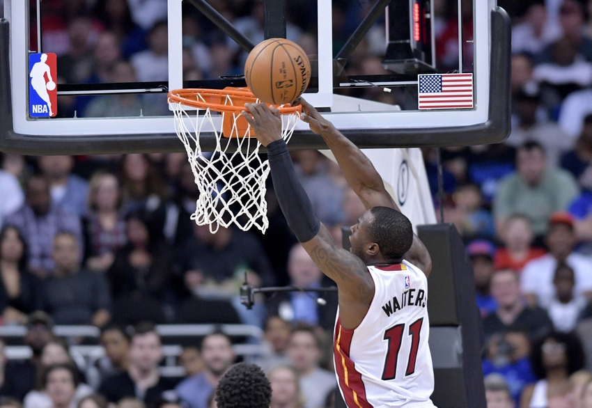 Oct 8, 2016; Kansas City, MO, USA; Miami Heat guard Dion Waiters (11) misses a dunk attempt during the first half against the Minnesota Timberwolves at Sprint Center. Mandatory Credit: Denny Medley-USA TODAY Sports