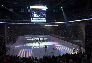 Apr 12, 2013; Columbus, OH, USA; The Columbus Blue Jackets and St. Louis Blues stand for the singing of the Star Spangled Banner before the game at Nationwide Arena. The Blue Jackets won the game 4-1. Mandatory Credit: Greg Bartram-USA TODAY Sports