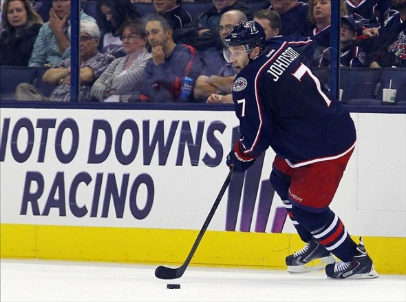 Oct 4, 2013; Columbus, OH, USA; Columbus Blue Jackets defenseman Jack Johnson skates with the puck during the 2nd period of the game against the Calgary Flames at Nationwide Arena. Mandatory Credit: Rob Leifheit-USA TODAY Sports