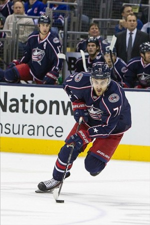 Nov 7, 2013; Columbus, OH, USA; Columbus Blue Jackets left wing Nick Foligno (71) carries the puck up ice in the first period of the game against the New York Rangers at Nationwide Arena. New York Rangers win 4 to 2 over the Columbus Blue Jackets. Mandatory Credit: Trevor Ruszkowksi-USA TODAY Sports