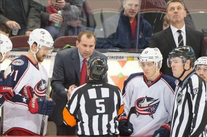 Columbus Blue Jackets head coach Todd Richards speaks with referee Chris Rooney (5) in the third period against the Ottawa Senators at the Canadian Tire Centre. Photo By: Marc DesRosiers-USA TODAY Sports