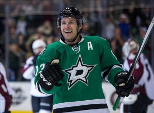 Dec 17, 2013; Dallas, TX, USA; Dallas Stars left wing Ray Whitney (13) celebrates his second goal against the Colorado Avalanche during the game at American Airlines Center. The Stars defeated the Avalanche 3-2. Mandatory Credit: Jerome Miron-USA TODAY Sports