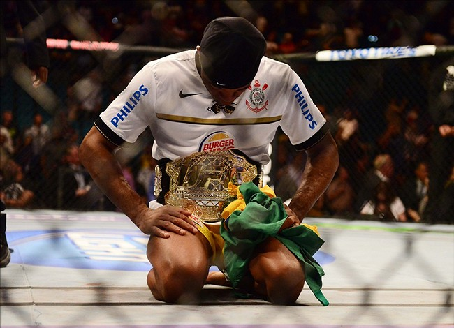 Jul. 7, 2012; Las Vegas, NV, USA; UFC fighter Anderson Silva celebrates after defeating Chael Sonnen (not pictured) during a middleweight bout in UFC 148 at the MGM Grand Garden Arena. Mandatory Credit: Mark J. Rebilas-US PRESSWIRE