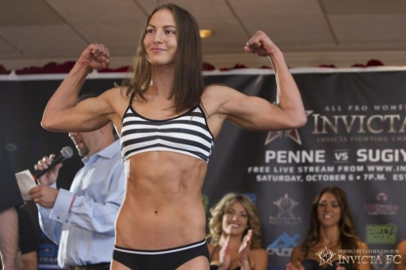 Kaitlin Young poses during the Invicta FC 3 weigh ins Ether Lin-Invicta FC